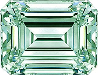 RINGJEWEL Emerald-Cut Loose Moissanite Use 4 Pendant/Ring Off White Ice Blue Color (3.44 ct,SI1 Clarity)