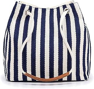 女式手提包小号帆布单肩包日常工作手提包带简约条纹图案