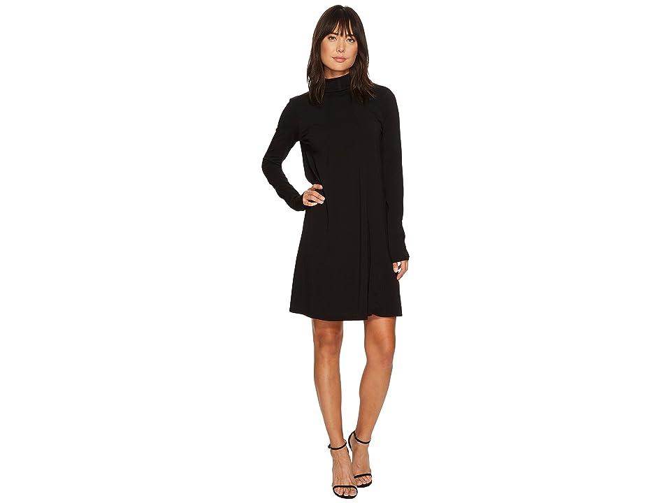 Mod-o-doc Cotton Modal Spandex Jersey Funnel Neck Keyhole Back Swing Dress (Black) Women