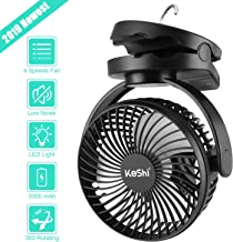 Camping Tent Fan with LED Lantern - 4 Speeds 5000 mAh Battery Operated Personal Desk Fan - Ultra Silent Clip on Fan for Stroller - Portable USB Rechargeable Fan for Camping, Hiking, Home and Office