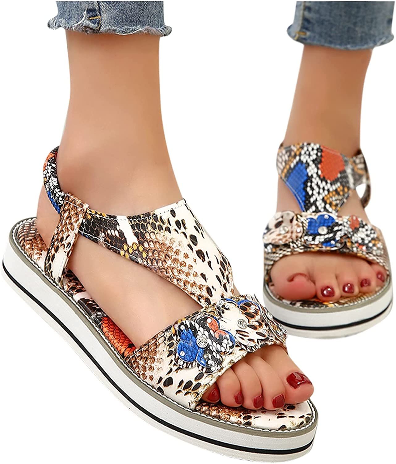 Hgndbloo Summer Sandals for Women Platform P Flat Seasonal Wrap Introduction Recommended Causal Slipper