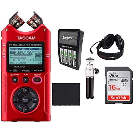 Red Tascam DR-40X Four-Track Digital Audio Recorder and USB Audio ...