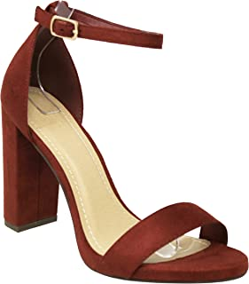 MVE Shoes Women's Open Toe Chunky Heel Strappy Heeled Sandal, Shiner Dk-Rus 10
