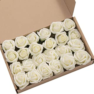 Ling's moment 24pcs Artificial Ivory Rose Buds & Petite Roses w/Stem for DIY Wedding Bouquets Boutonniere Corsages Table Centerpieces Decorations