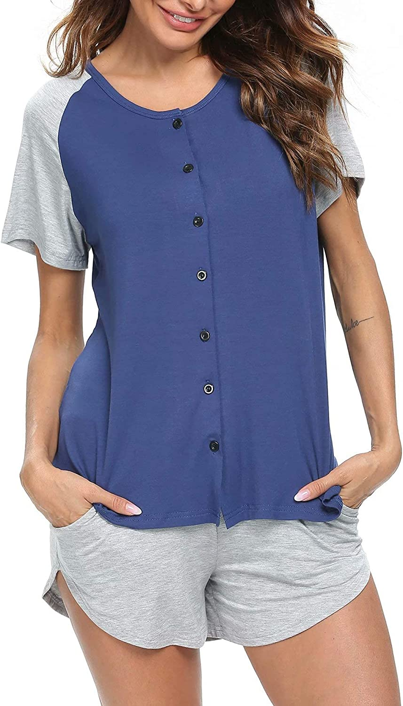 SWOMOG Women's Button Up Pajama Set Short Sleeve Sleepwear Soft Pjs with Pockets