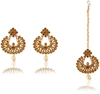 Crunchy Fashion Bollywood Style Traditional Indian Jewelry Earring & Tike Set for Women & Girls