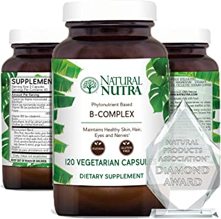 Natural Nutra Vitamin B Complex with Niacin, Pantothenic Acid, Folate, Thiamin, Biotin, Supports Nervous System Health, He...