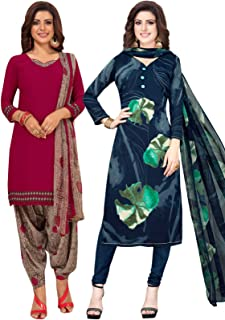 S Salwar Studio Women's Pack of 2 Synthetic Printed Unstitched Dress Material Combo-MONSOON-2885-2891