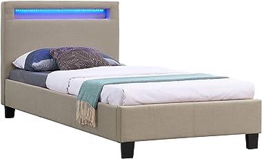 CARO-Möbel Polsterbett Himalaya mit LED Beleuchtung Einzelbett Jugendbett 90 x 200 cm mit Lattenrahmen, in beige