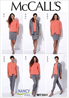 McCall's Patterns M7331 Misses' Jacket, T-Shirt, Pencil Skirt and Leggings, Size E5 (14-16-18-20-22)