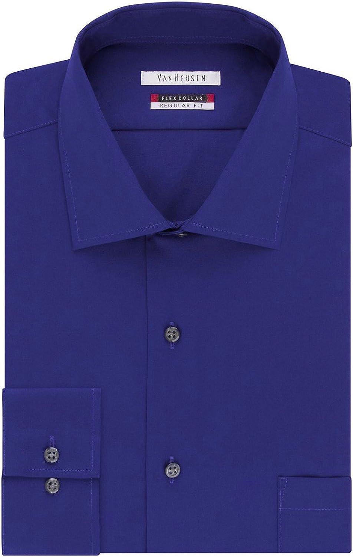 Van Heusen Men's Flex Collar Classic-Fit Long Sleeve Dress Shirt (Neck 16 Sleeve 32/33, Royal Blue)