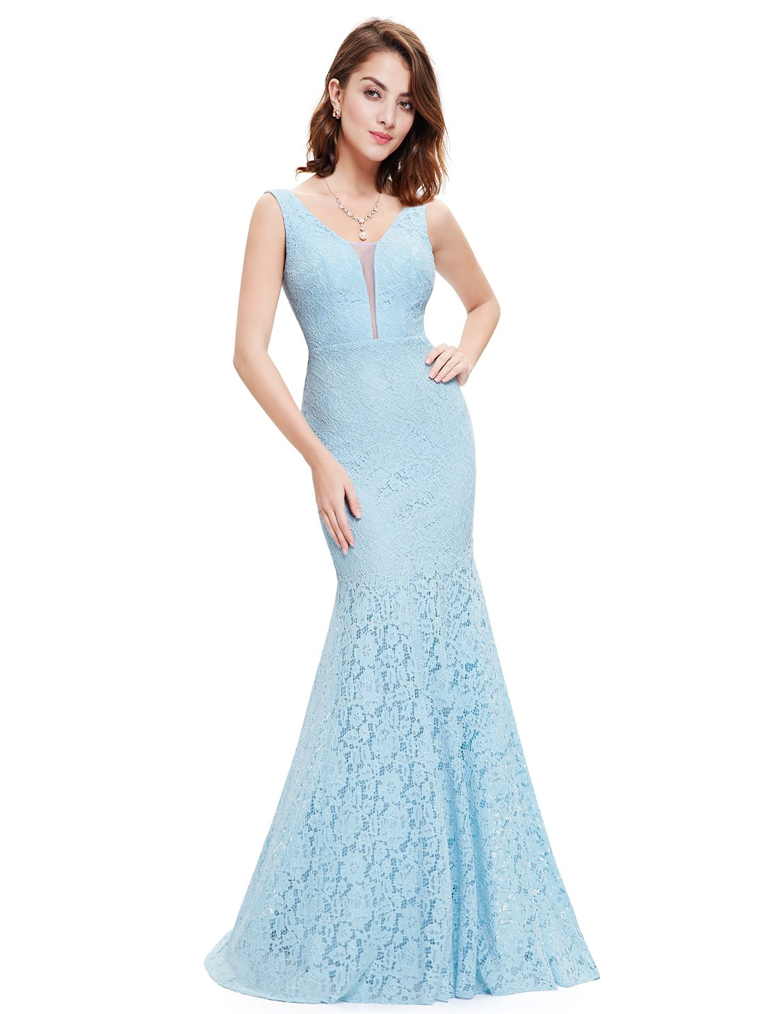 Available at Amazon: Ever-Pretty Women's Romantic Sexy Lace Floor Length V-Neck Evening Prom Dress 08838