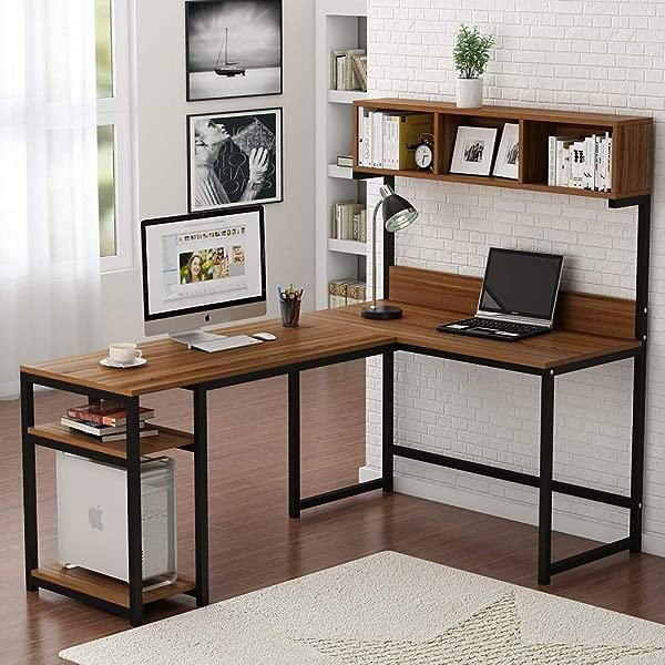 Tribedsigns L 形书桌带厨柜 68 角电脑桌游戏桌工作站带收纳书架家用办公室深色胡桃木
