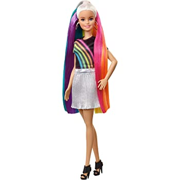 Barbie Rainbow Sparkle Hair Doll with Extra-Long Blonde Rainbow Hair, Sparkle Gel and Comb and Hairstyling Accessories