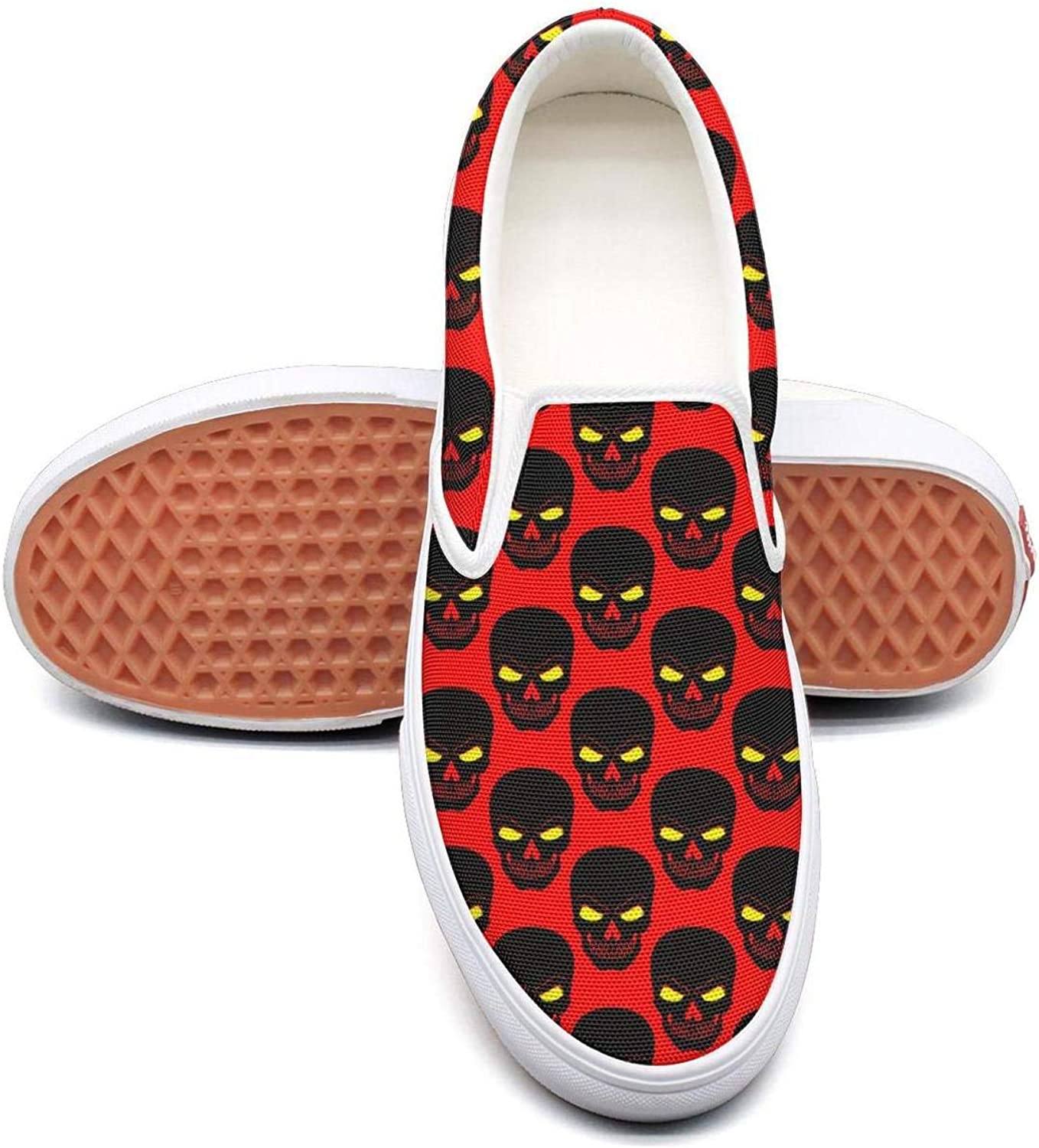 Angrily Skulls Slip On Superior Comfort Loafers Canvas shoes for Women Fashion