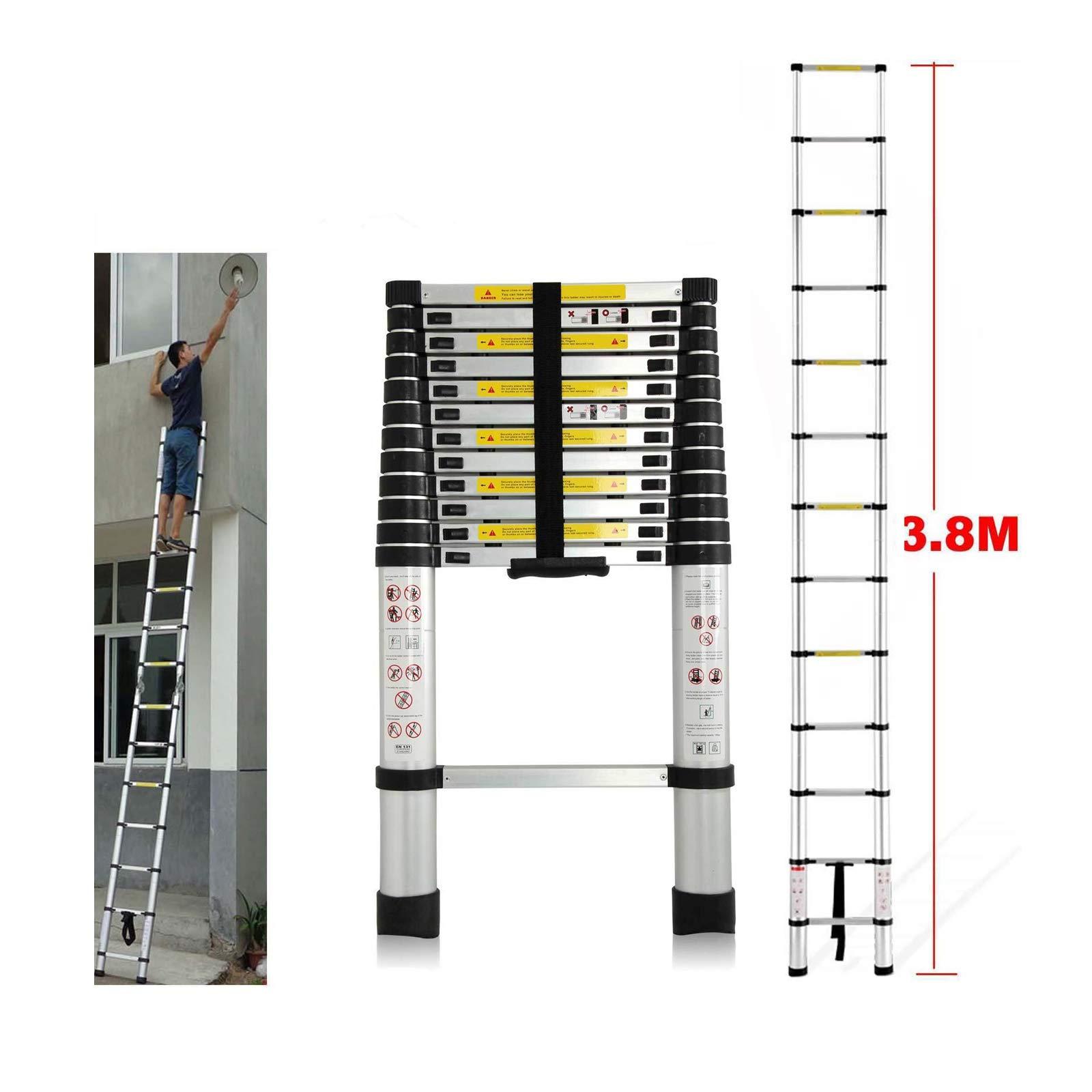Ligero Aluminio Escalera telescópica extensión plegable retráctil ajustable estilo Climb 13 Medidas 12,5 ft/kg capacidad: Amazon.es: Bricolaje y herramientas