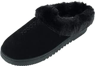Dearfoams Women's Genuine Suede Clog Slippers with Stitch Detail, 10, Black