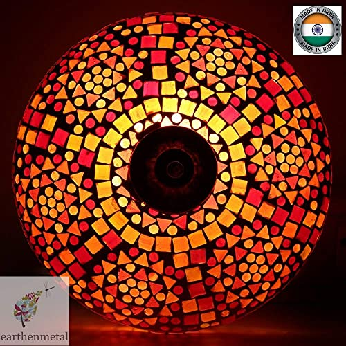 Earthenmetal Spherical Glass Mosaic Ceiling lamp for Rooftop Living & Home Decoration Turkish lamp (Red, Bulb not Included); Made in India