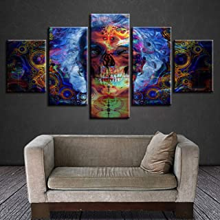 BOYH 5 Piece/Pcs Canvas Abstract Colorful Skull Posters HD Printed Modular Modern Painting Wall Art Living Room Home Decor Frame
