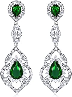 Wedding Teardrop Dangle Earrings Silver Tone Vintage Chandelier Earrings Zircon