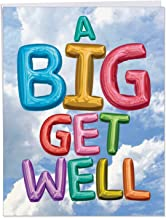 Inflated Messages - Big Get Well Card with Envelope (Big 8.5 x 11 Inch) - Colorful Balloon Design, Feel Better Soon Notecard Stationery - Fun Sympathy Card for Hospital, Sick, Injury J5651HGWG