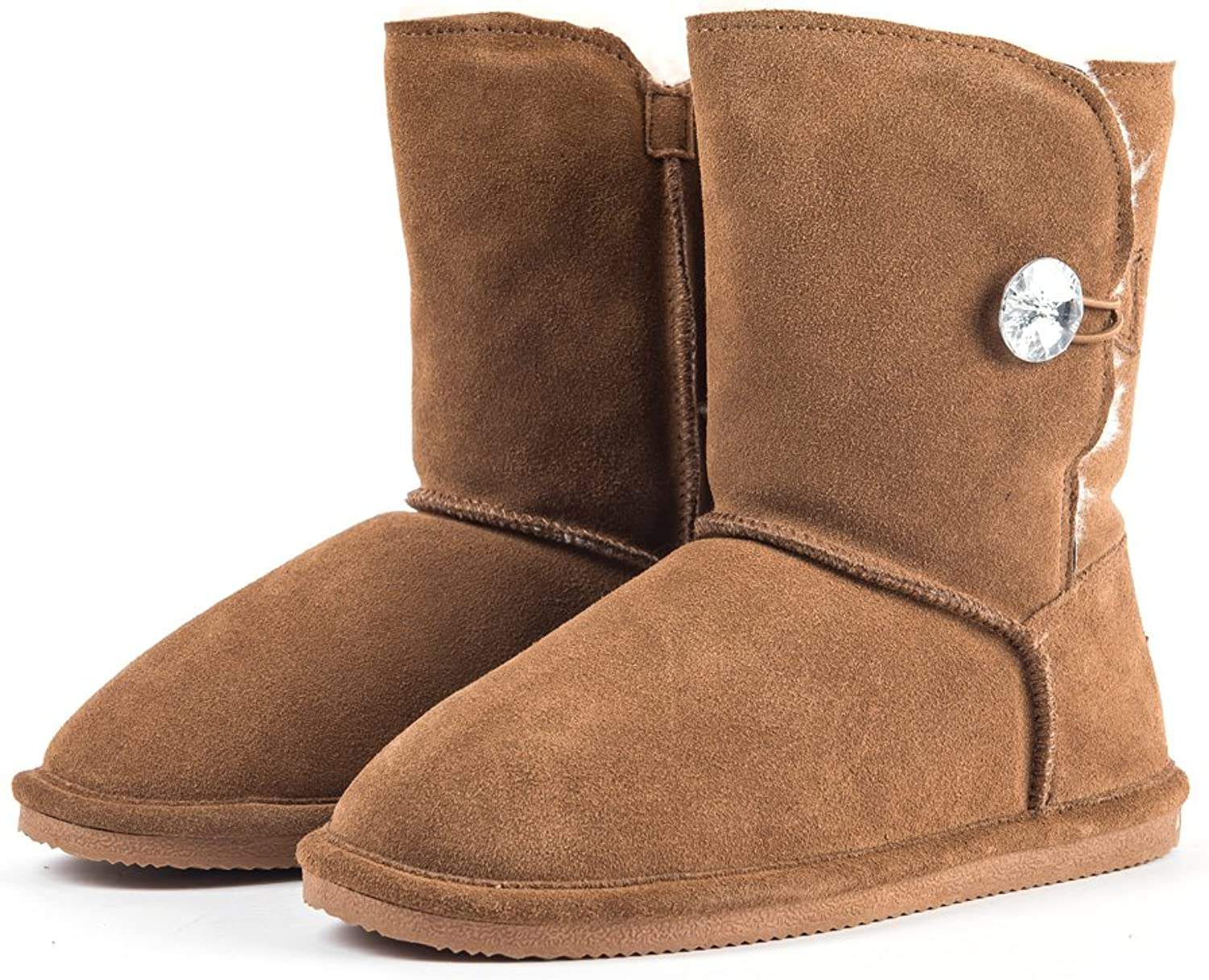 Amelia Women's Imitated Crystal Buttons Australian Sheepskin Short Snow Boots