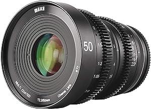 MEKE 50mm T2.2 Large Aperture Manual Focus Low Distortion 4K Mini Cine Lens for Sony E Mount APS-C Cameras and Super 35mm Camcorders FS5 FS7