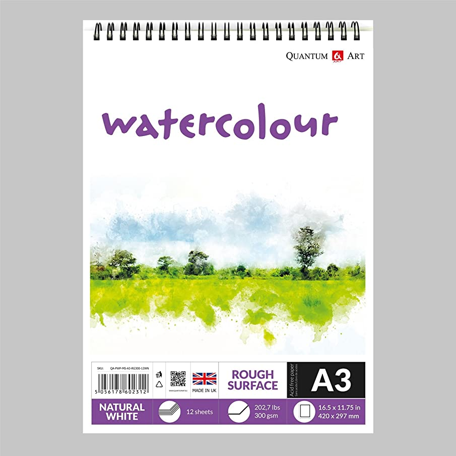 Watercolour Rough Surface Pad Drawing Artist Paper on Spiral Book - 300gsm (A3-420x297 mm)