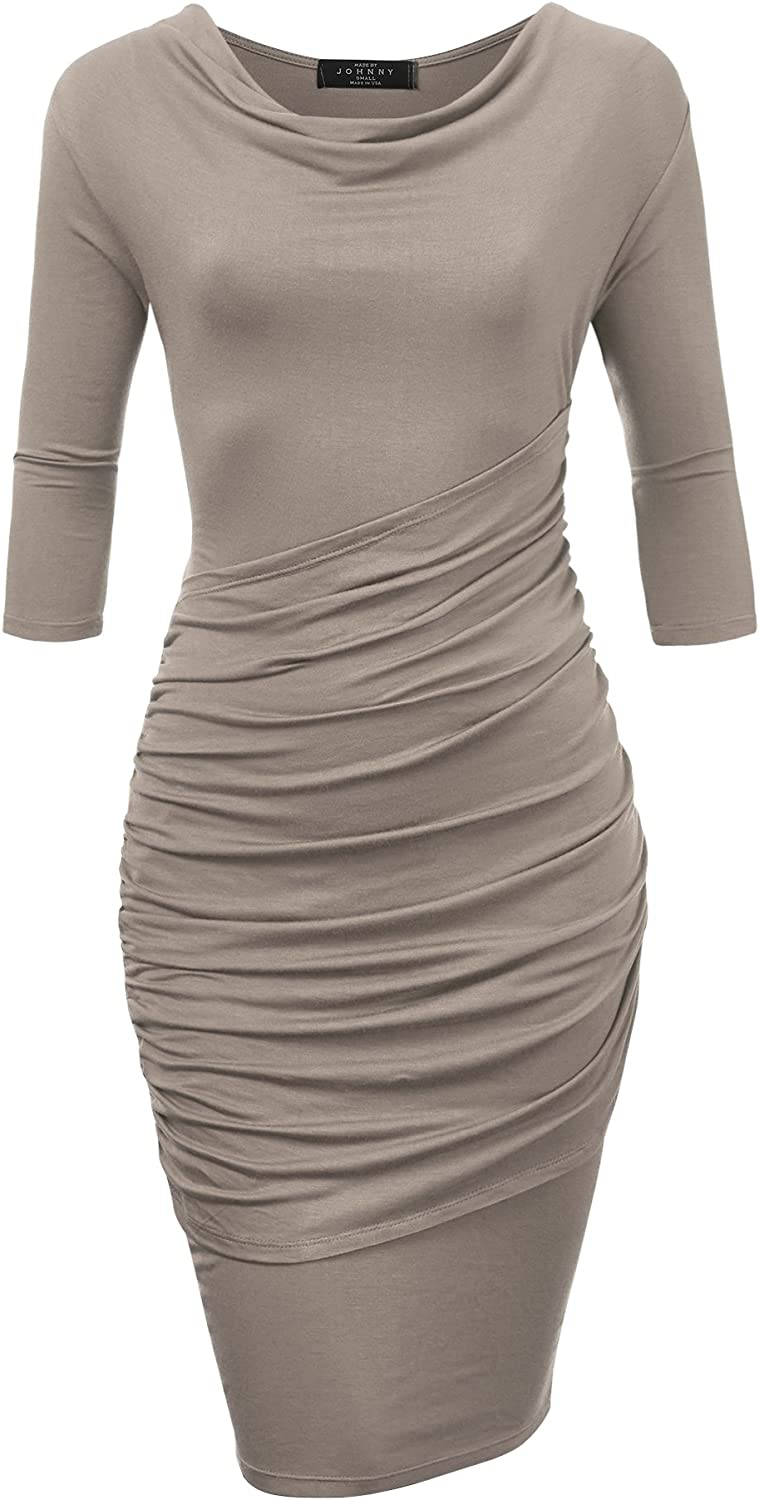 Come Together California CTC WDR1185 Womens Cowl Neck 3 4 Sleeve Pleated Detail Dress XXL Taupe