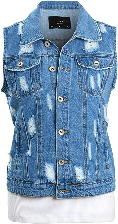 HOT DENIM JACKET Womens Jean Jackets LADIES Cropped Waistcoat Size 8 10 12 14 18