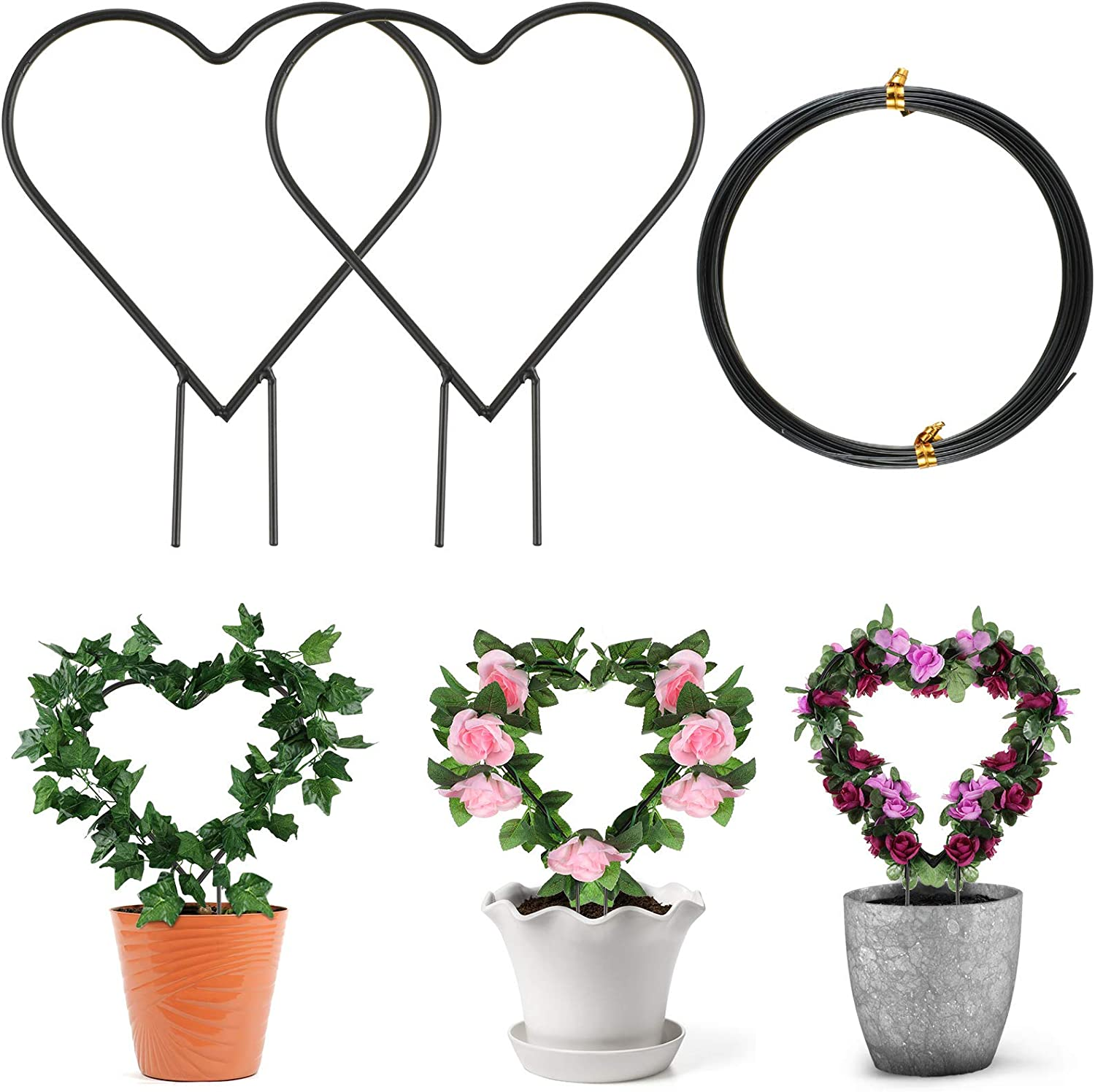 2 Piece Black Metal Garden Trellis 11.8 Inch Heart Shape Vine Iron Plant Support Potted Plant Climbing Holder Rack Decorative Plant Support Stake with 5.5 Yard Aluminum Wire for Climbing Plant Flower