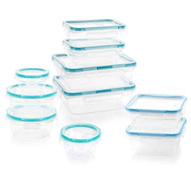Snapware Total Solution Rectangular Plastic Food Storage Set (20-Piece, BPA Free, Meal Prep, Leak-Proof, Microwave, Freezer and Dishwasher Safe)