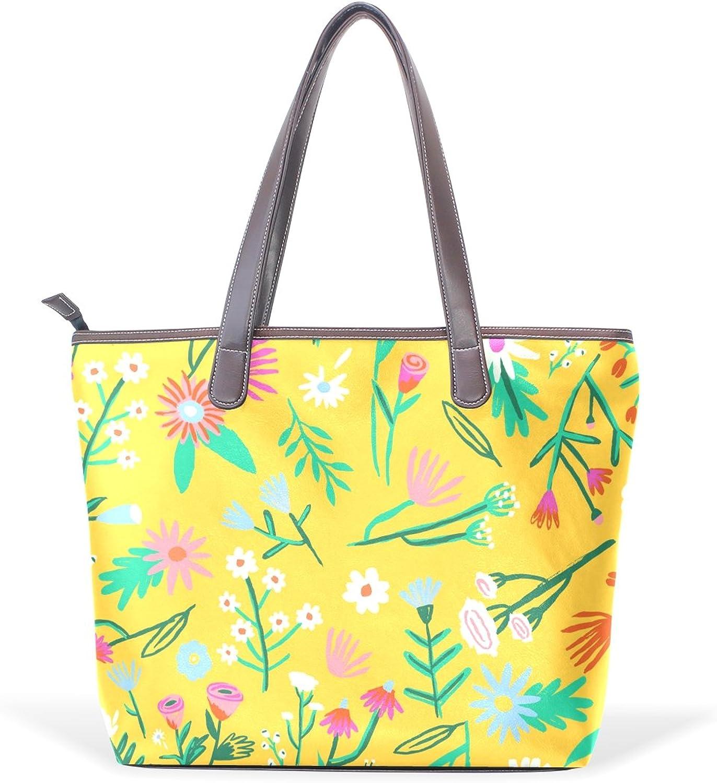 COOSUN Frauen Gelb Flower PU-Leder Grosse Handtasche Handtasche Handtasche Griff Umhängetasche M (40x29x9) cm muticolour B07414ZX5G  Schnelle Lieferung feee62