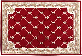 Hihome Anti-Slip/Skid Dotted Backing Door Mat Runner Rug 2'x3' Wine Red Traditional Classic Machine Washable Floral Rugs Indoor Outdoor Kitchen Hallway Entry Shag Area Rug(24