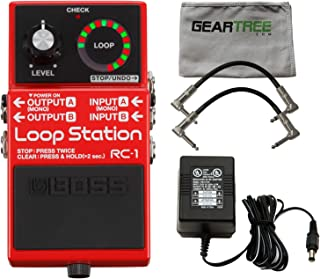 Boss RC-1 Loop Station Stomp Box w/Power Supply, 2 Patch Cables, and Polish Clo