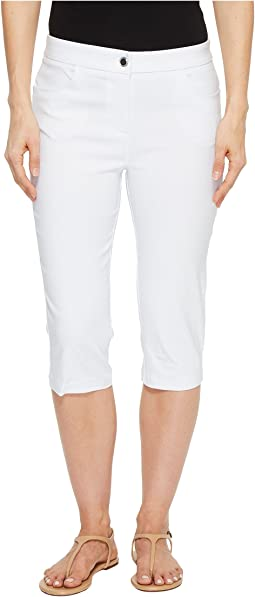 "Stretch Bengaline 17"" Zip Front Capris with Back Leg Detail"