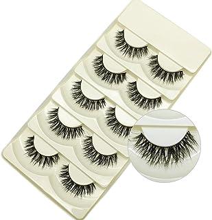 Faux Mink Lashes 3D Natural Handmade False Eyelashes Pack of 5 Pairs (Black-Overlapping)
