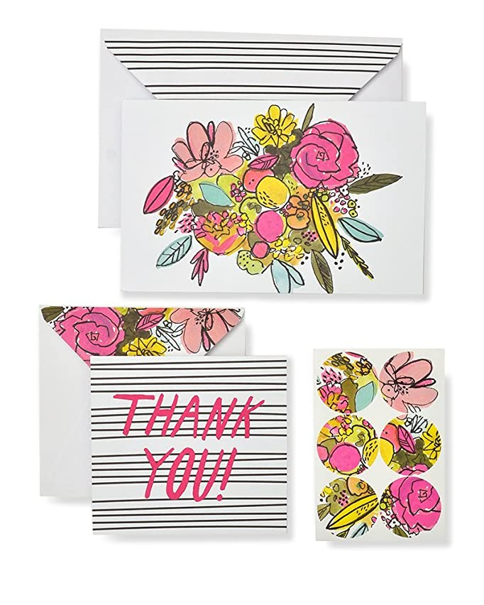 Roobee Floral Watercolor Thank You and Note Card Set with Seals