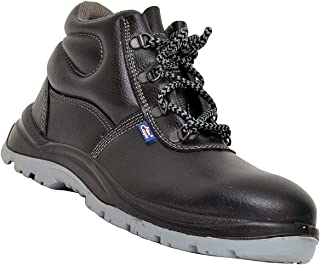 Allen Cooper 1008 Hi-Ankle Safety Shoe, Size-8 UK, Black-Grey (Free Socks)