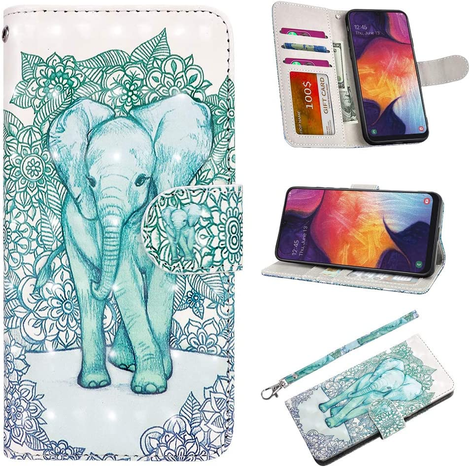 UrSpeedtekLive Galaxy A50 Case, Galaxy A50 Wallet Case, Premium PU Leather Wristlet Flip Wallet Case Cover with Card Slots & Stand for Samsung Galaxy A50 - Elephant