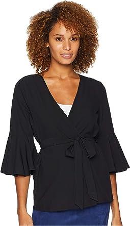 Bell Sleeve Woven Cardigan