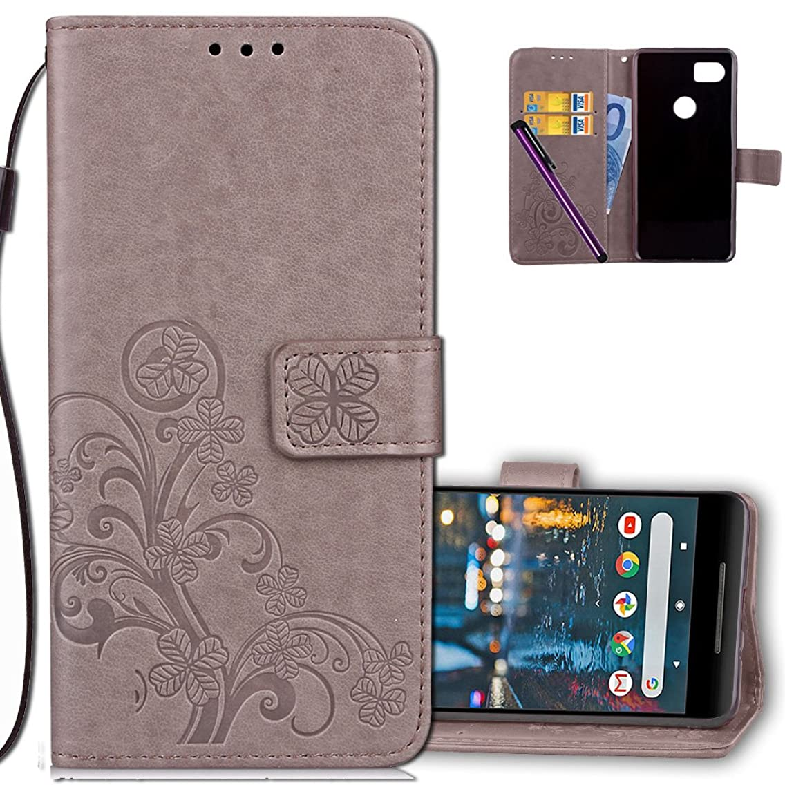 Google Pixel 2 XL Wallet Case Leather COTDINFORCA Premium PU Embossed Design Magnetic Closure Protective Cover with Card Slots for Google Pixel 2 XL (6.0 inch). Luck Clover Grey