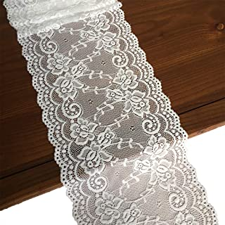 LaceRealm 7 Inch Wide Floral Stretchy Lace Elastic Trim Fabric for Garment & DIY Craft Supply- 5 Yard (7018white)