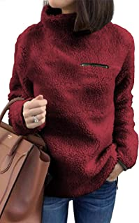 onlypuff Sherpa Pullover Sweaters for Women Winter Warm Tunic Tops Sweatshirts