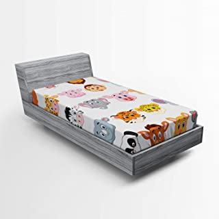 Ambesonne Cartoon Fitted Sheet, Kids Themed Baby Animals Lions Pigs Cows Farm Safari Baby Nursery Room Image, Soft Decorative Fabric Bedding All-Round Elastic Pocket, Twin Size, Orange White