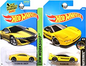 Hot Wheels 1990 Acura NSX and Acura NSX Concept in Yellow SET OF 2