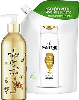 Pantene Pro-V Shampoo Rigenera e Protegge, KIT con Bottiglia Ricaricabile senza Plastica 430ml + Ricarica Sostenibile 480ml