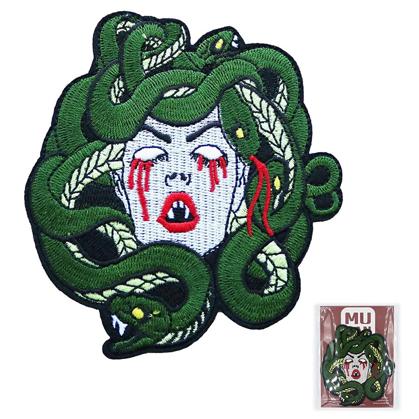 MUNAN Iron on Patch sad Bleeding Medusa Patch Cool Iron On Patch Sewing Anime Embroidered Patch Badge Applique for Clothes Jacket Jeans Cap Bag