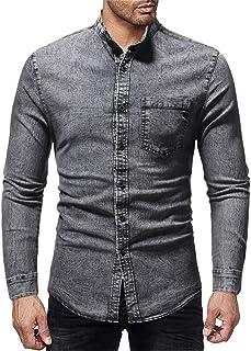 Men Denim Shirt Men Shirt Comfortable Stand Collar Slim Solid Color Simple Boutique Men Shirt New Button Business Casual M...
