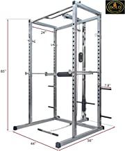 GOLD FITNESS Power Rack Olympic Squat Cage Home Gym with LAT Pull Attachment